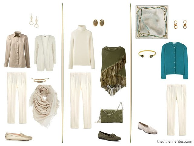 three new capsule wardrobe outfits including ivory wool trousers