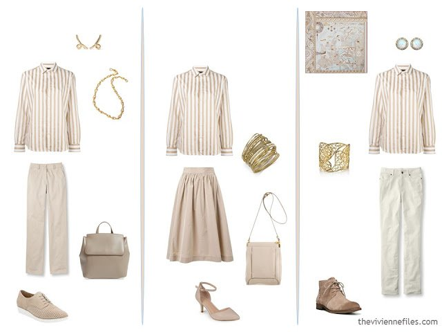 3 outfits using a striped shirt, from a capsule wardrobe