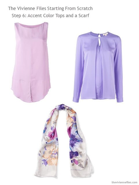 Accent color tops and a scarf in pink and purple for a capsule wardrobe