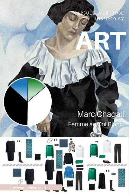 Build a Travel Capsule Wardrobe by Starting with Art: Femme au Col Blanc by Marc Chagall