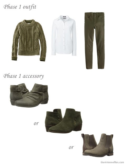 How to choose short boots for an olive green outfit