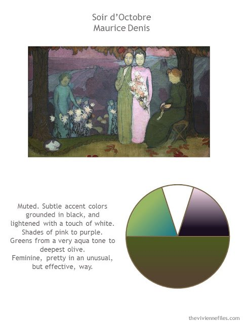 Soir d'Octobre by Maurice Denis with style guidelines and color palette
