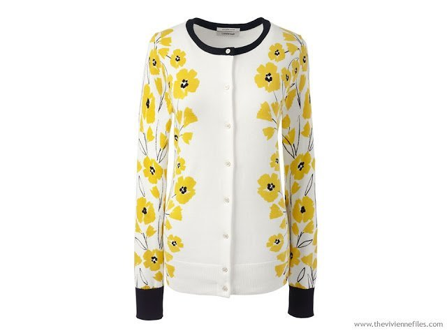 yellow print Dandelion cardigan from Lands' End