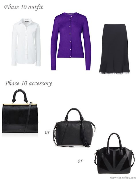How to add a black handbag to a business capsule wardrobe