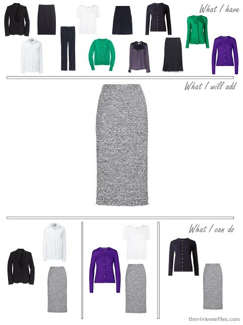 How to add a navy tweed skirt to a business capsule wardrobe