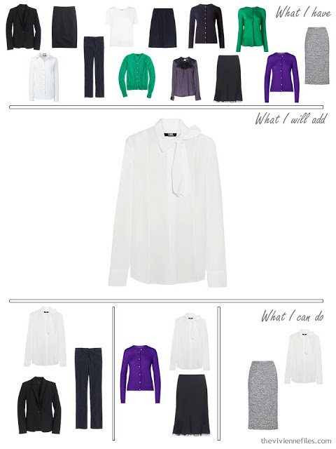 How to add a white bowed blouse to a business capsule wardrobe