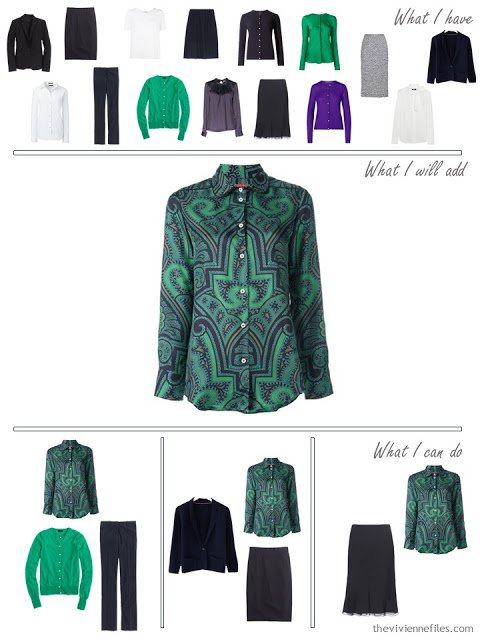 How to add a jewel colored paisley silk blouse to a business capsule wardrobe