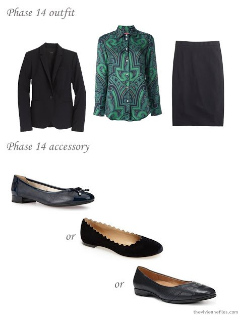 How to add black ballet flats to a business capsule wardrobe