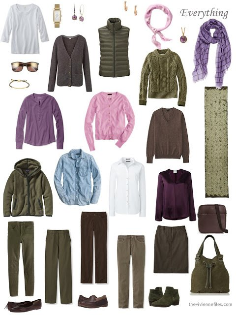 a sixteen-piece capsule wardrobe in olive and brown, with accents of purple and pink