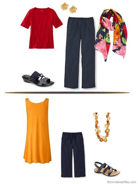 2 outfits in a Whatever's Clean 13 capsule wardrobe