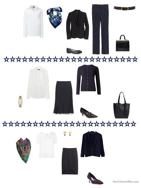 Three navy and white outfits from a business capsule wardrobe