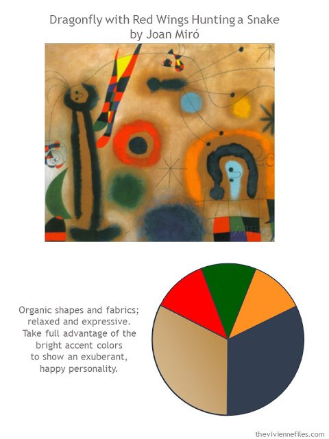 Color Palette inspired by Dragonfly with Red Wings Hunting a Snake by Joan Miro