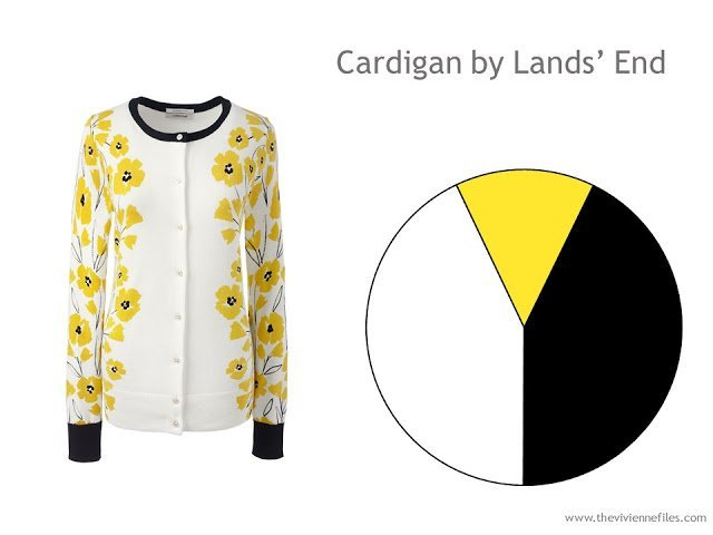 yellow print Dandelion cardigan from Lands' End with a color palette
