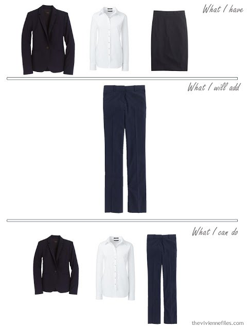 How to add navy trousers to a business capsule wardrobe