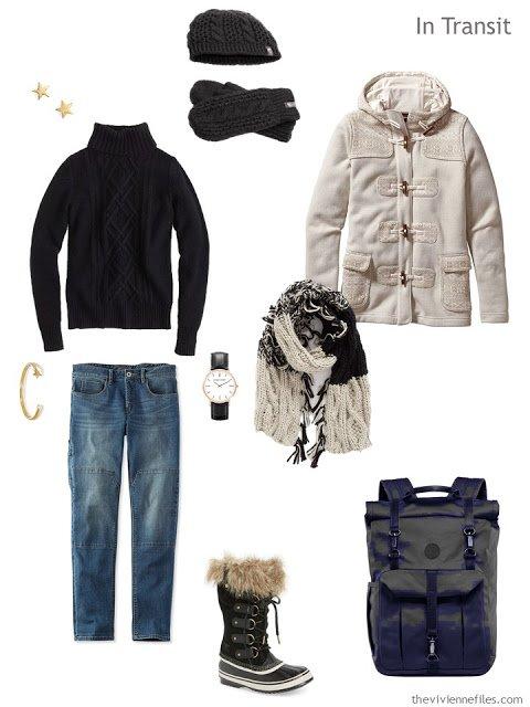 A winter travel capsule wardrobe inspired by Winter Scene in Moonlight by Henry Farrer