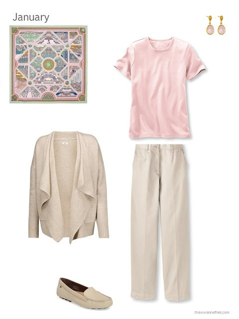 The first outfit in a capsule wardrobe in beige and pastels