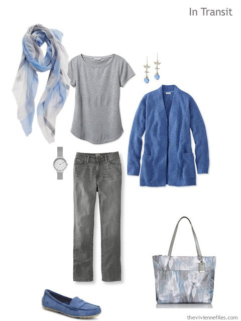 blue and grey travel outfit