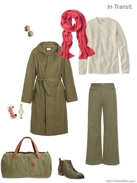 travel outfit in olive and ivory with coral accents