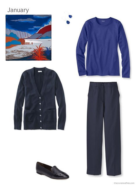 The first outfit in a capsule wardrobe in blue and orange