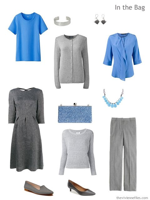 A travel capsule wardrobe in a blue a grey color pallet for a weekend business trip