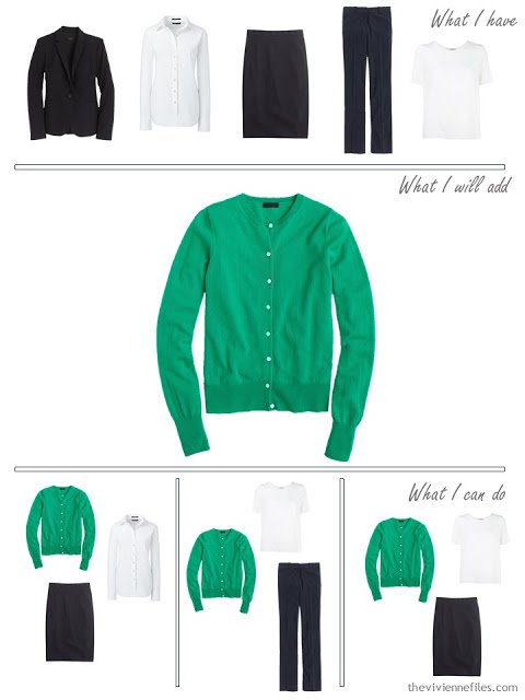 How to add an emerald green cardigan to a business capsule wardrobe