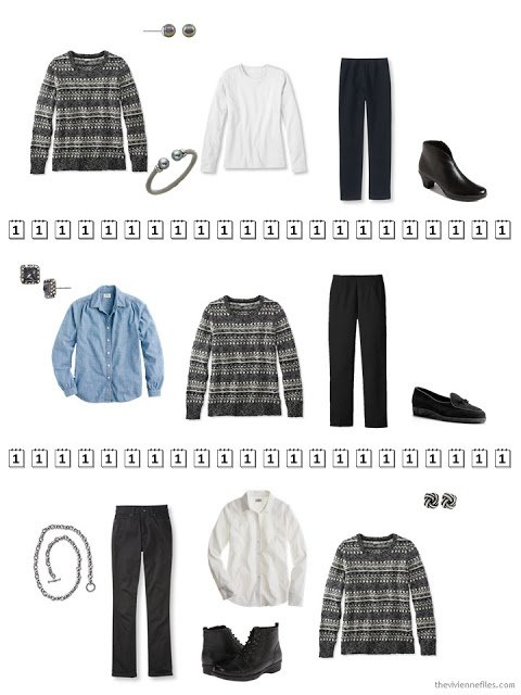 three outfits that include a black and white Fair Isle sweater