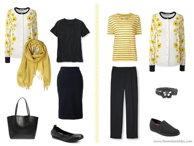 yellow floral dandelion cardigan with a tee shirt and skirt, and with a striped tee and black pants