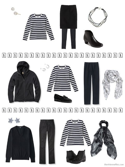three outfits that include a black and white striped tee shirt