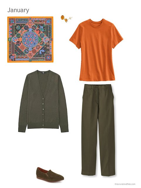 The first outfit in a capsule wardrobe in green and orange
