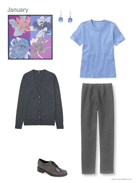 The first outfit in a capsule wardrobe in blue and grey