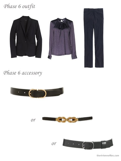 How to add a black leather belt to a business capsule wardrobe