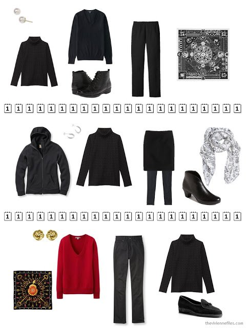 three outfits that include a black dotted cotton turtleneck