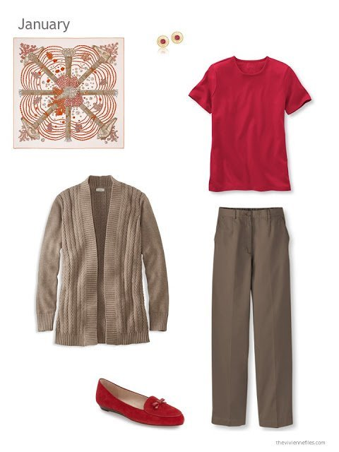 The first outfit in a capsule wardrobe in red and brown