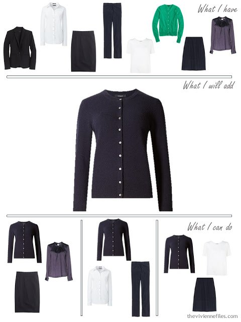 How to add a navy cardigan to a business capsule wardrobe