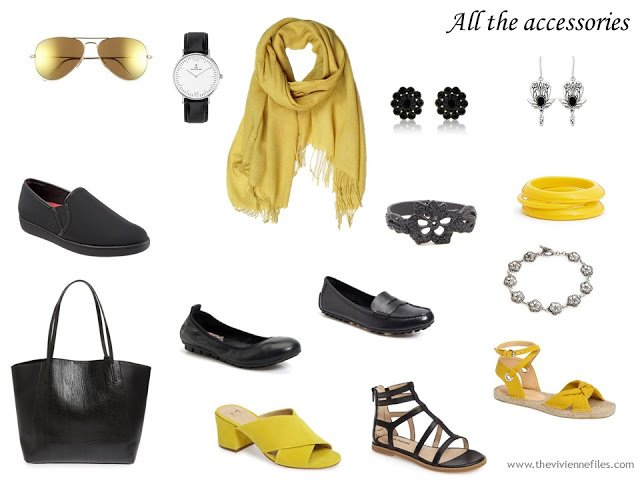 accessories in black, silver and yellow, to work with a capsule wardrobe focused on a yellow floral cardigan
