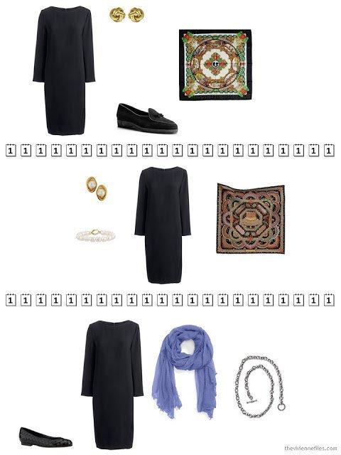 three ways to wear a black knit dress