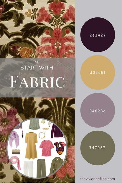 A travel capsule wardrobe in an olive, gold, and purple color palette inspired by a swatch of velvet fabric