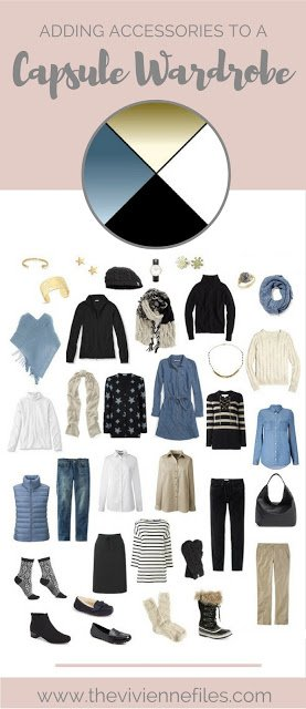 How to add accessories to a winter travel capsule wardrobe in a blue, black, white, and beige color palette