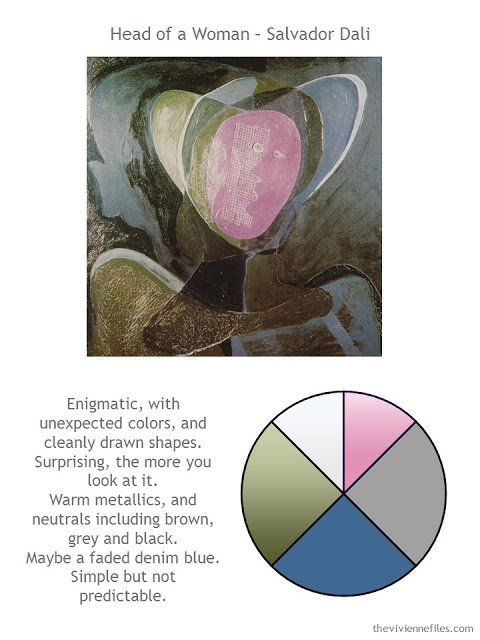 Head of a Woman by Salvador Dali with style notes and color palette