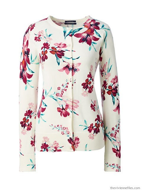 bright burgundy floral cardigan from Lands' End