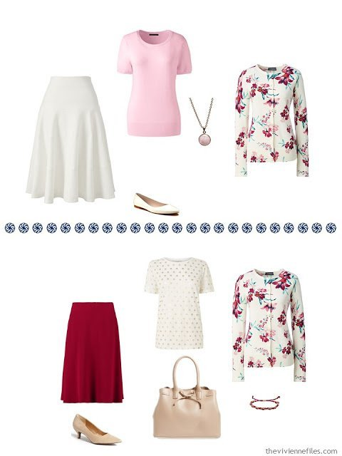 two outfits from a floral cardigan-centered travel capsule wardrobe
