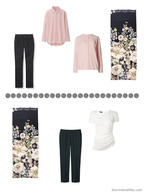 a jeans outfit and a cropped pants ensemble to wear with the Garden Gems scarf by Ted Baker London