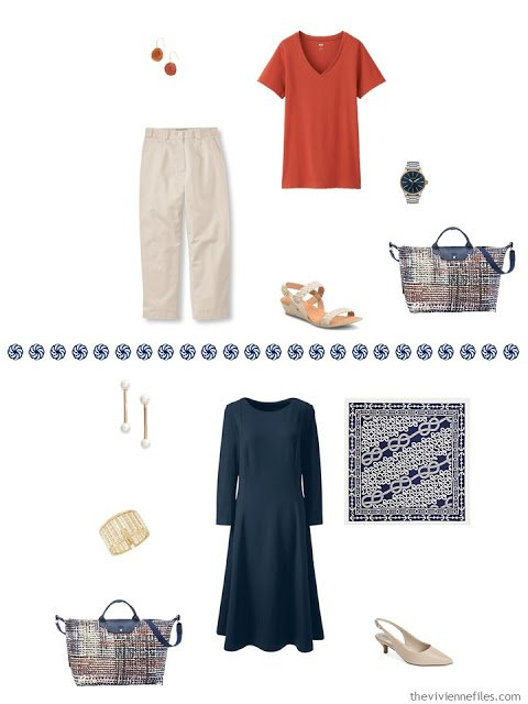 rust tee with khaki capris, navy dress worn with a scarf