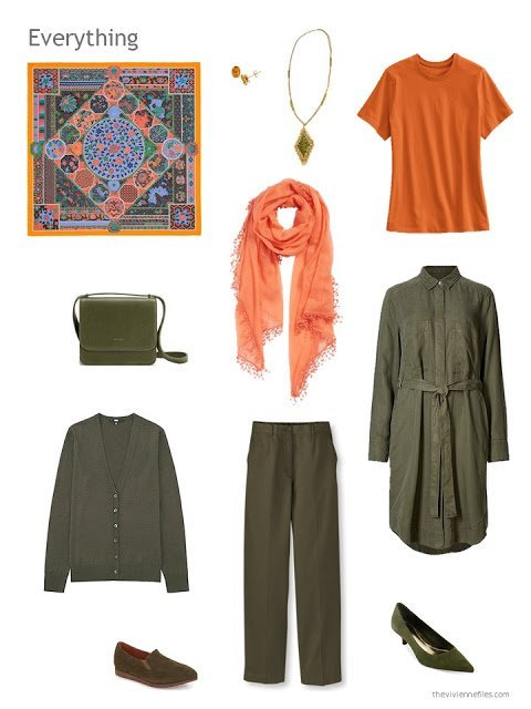 4 piece wardrobe in olive and orange