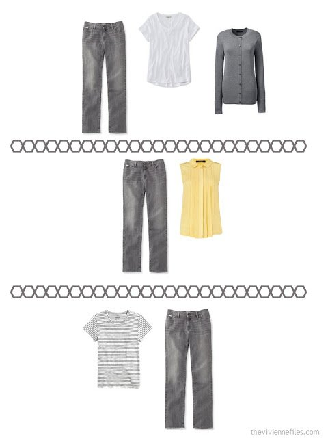 three ways to wear charcoal grey jeans