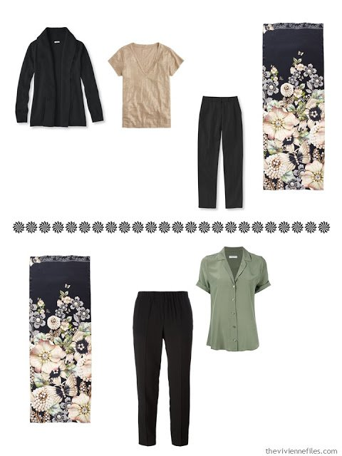 two black trouser ensembles to wear with the Garden Gems scarf by Ted Baker London