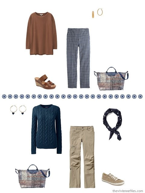 rust tunic with navy and white checked pants, navy sweater with khaki pants