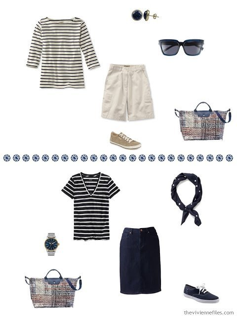 navy and cream breton top with khaki shorts, navy & white tee with denim skirt