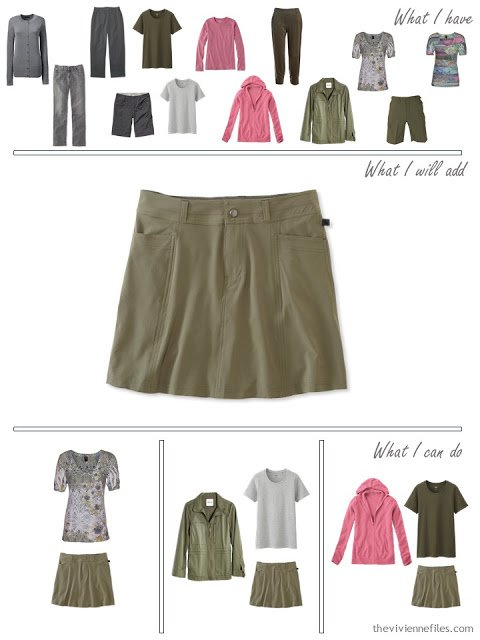 How to add an olive skort to a travel capsule wardrobe in olive and grey