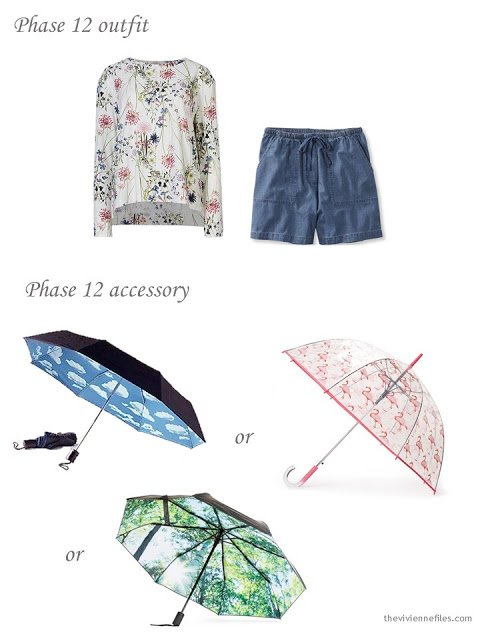 a floral sweatshirt and denim shorts, with a choice of fun printed umbrellas
